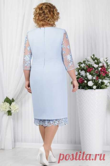 Платье Ninele, голубой (модель 2145) — Белорусский трикотаж в интернет-магазине «Швейная традиция»