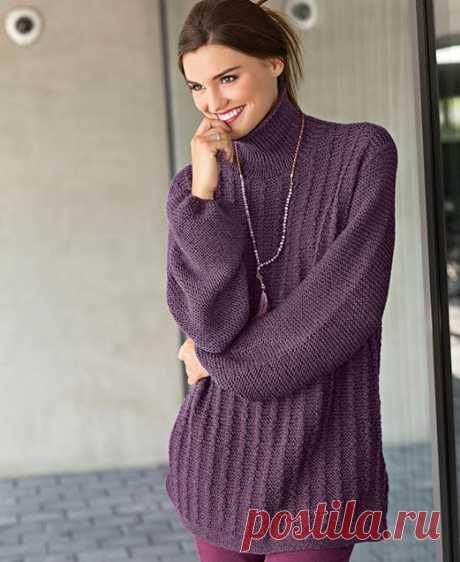 10 моделей вязаных свитеров оверсайз, схемы вязания