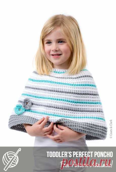 Cute Free Crochet Patterns For Children | Patterns Center Toddler's Perfect Poncho Craft: Crochet, Skill level: Intermediate, Designed by: Marly Bird #crochetponcho #crochet #crochetfreepattern #freecrochet #crochetponchopattern #freecrochetponcho #crochetpatternsfree #crochetforkids #crochetforchild #crochetlove #crochetyarn #stitch