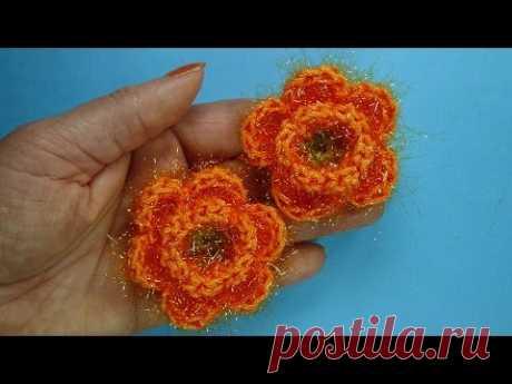 Начинаем вязать – Видео уроки вязания » Пушистый цветок – Вязаные цветы №91
