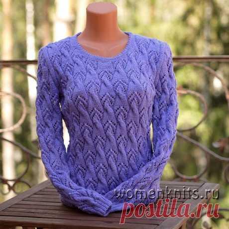 Сиреневый пуловер спицами Схема: https://womanknits.ru/vyazanie-dlya-zhenshchin/pulovery-svitera/sirenevyj-pulover-spicami