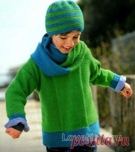 Двухцветный джемпер для ребенка, шапочка и шарф-петля схема » Люблю Вязать