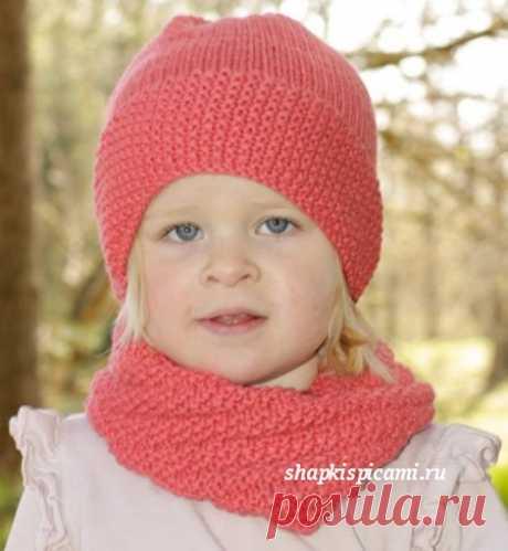 Вязаная шапка и снуд для девочки, на возраст от 1 года до 10 лет (вязание спицами).