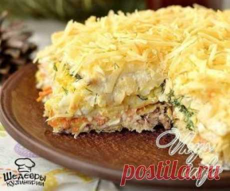 ЗАКУСОЧНЫЙ ТОРТ С КОНСЕРВАМИ  Приготовьте такую закуску и Ваши гости останутся довольны