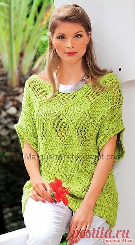 Пуловер с ажурными ромбами. Спицы. Размеры: 38/40 (46/48)  Вам потребуется: 700 (800) г зелёной пряжи Juliette SMC Select (100% хлопка, 50 м/50 г); прямые спицы № 5,5 и № 6; круговые спицы № 5,5.