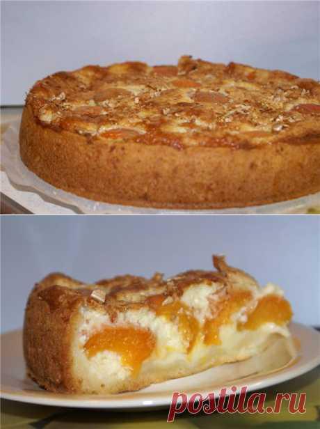 Пирог с абрикосами и творожным кремом.