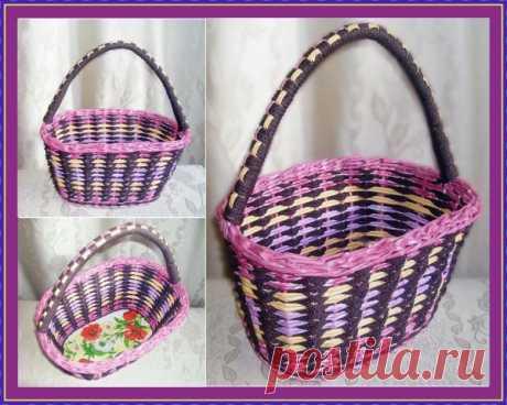 Овальная корзина с объёмом около 8 литров. Кроме бумажной лозы используется шнур для плетения.
