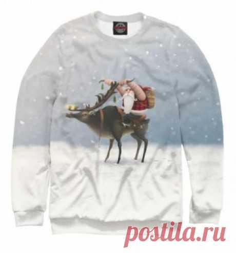 Новогодний свитшот Дед Мороз-байкер
