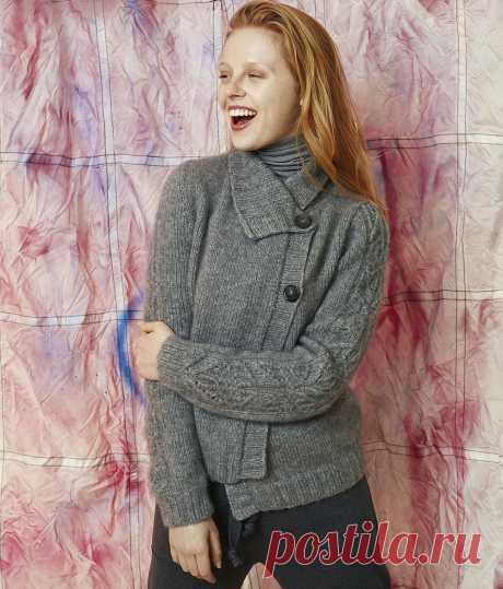 Жакет с узорными рукавами — схема вязания спицами с описанием на BurdaStyle.ru