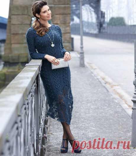 Вязание -спицы+крючок >Шикарное платье с ажурными фрагментами