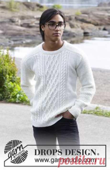 Пуловер Сибирь Стильный мужской пуловер спицами с рукавом погон, связанный из мягкой шерстяной пряжи на спицах 4 мм. Вязание пуловера выполняется по...