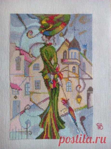 Этап процесса вышивки «Барышня ( картина в стиле модерн)» - Вышивка крестом