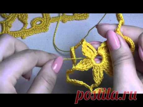 Video lesson. A band wide with florets. Irish lace.