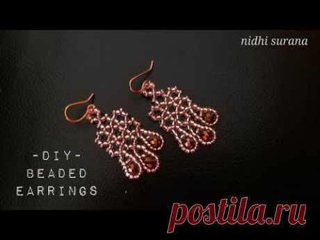 ⚜️Rose Gold Beaded Earrings || How to make || Aretes Tutorial DIY (0383)