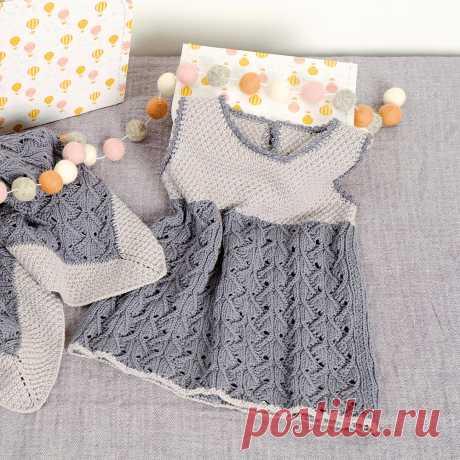 Платье в серых тонах - схема вязания спицами. Вяжем Платья на Verena.ru
