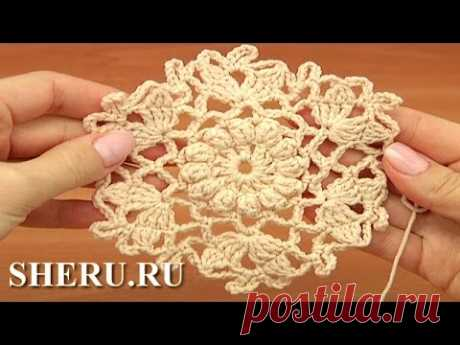 Crochet Circle Snowflake Motif Урок 32 часть 1 из 2 Мотив снежинка крючком