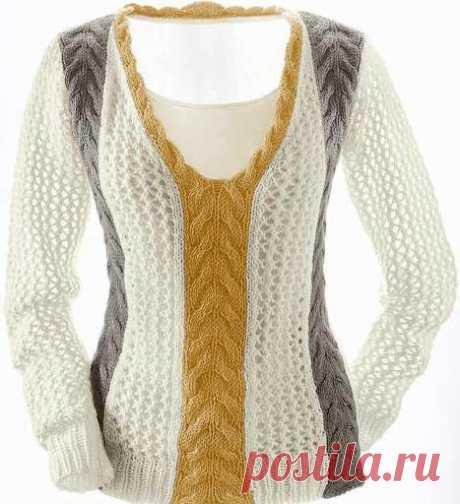 2 Красивых стильных пуловера (размеры с 36 по 50)  Пуловер с фантазийными полосами           Пуловер с V-образным узором и волнистым краем  Размеры:36/38 (42/44) 48/5OВам потребуется: 600 (650) 700 г лимонной пряжи Aurora (55% хлопка, 45% полиакри…