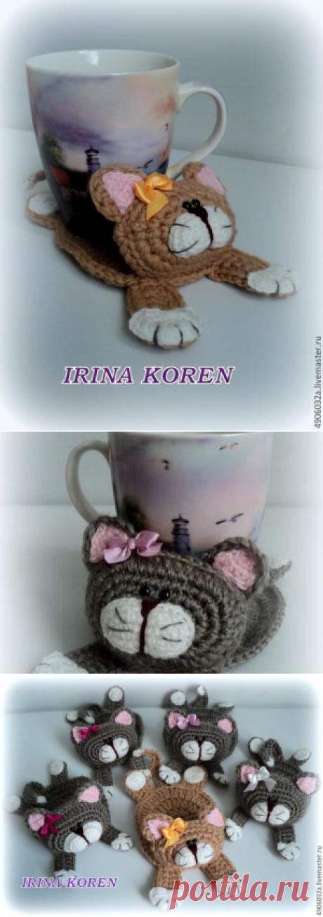 Вяжем крючком котика-подставку под чашку - Ярмарка Мастеров - ручная работа, handmade