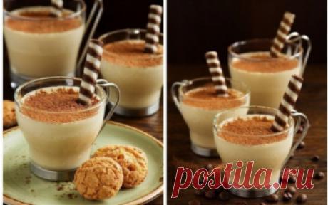 Нежный десерт-мусс «КАПУЧИНО» Наслаждение! Ингредиенты: Белый шоколад — 150 гРастворимый кофе — 1 ст. л.Молоко — 200 млСливки 33% — 200 млЖелатин — 2 ч. л.Сахарная пудра — 1-2 стак.Вафельные трубочки и какао — для подачи Приготовление: Замачиваем желатин в 2 ст...