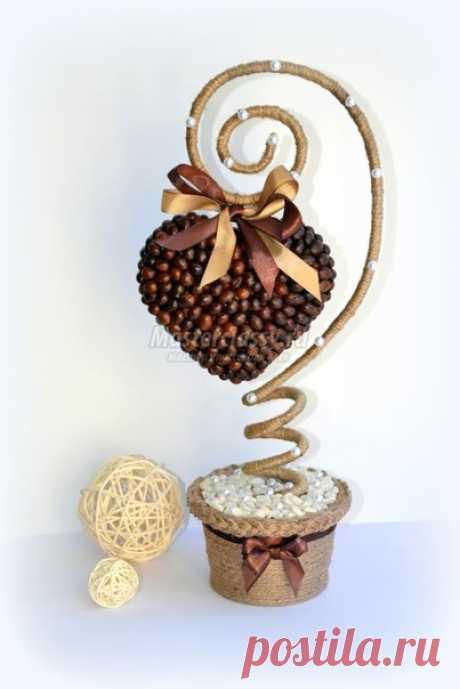 Кофейный топиарий в форме сердца — DIYIdeas