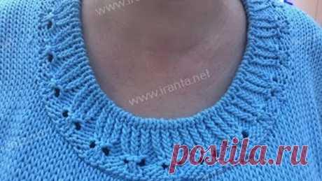 Обвязка горловины и манжет узорной резинкой
