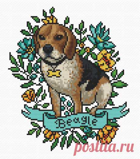 Beagle cross stitch pattern PDF/ dog xstitch/ floral | Etsy