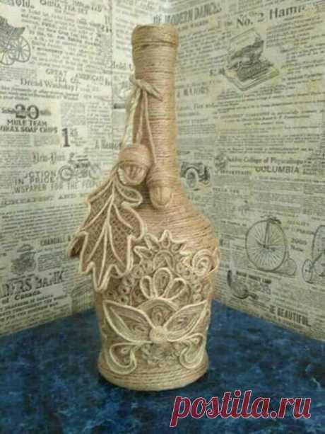 Оригинальное декорирование вазы или бутылки бечевкой — Сделай сам, идеи для творчества - DIY Ideas
