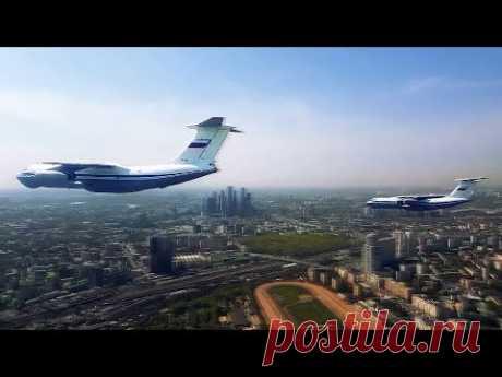 Видео 360: модернизированные Ил-76 в небе над Москвой