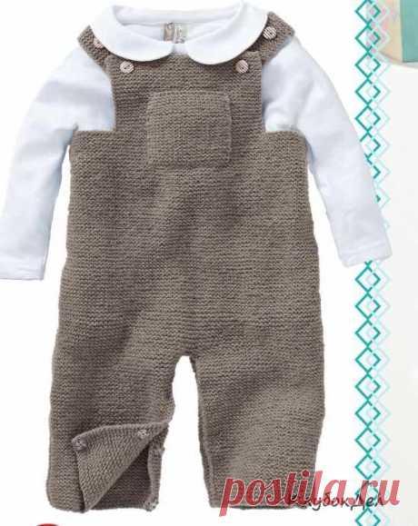 Комбинезон с кармашками для новорожденных, выкройка и описание вязания