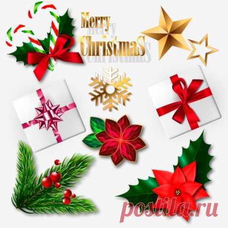 набор реалистичных рождественских элементов векторной иллюстрации, с рождеством, новый год, справочная информация PNG и вектор для бесплатной загрузки