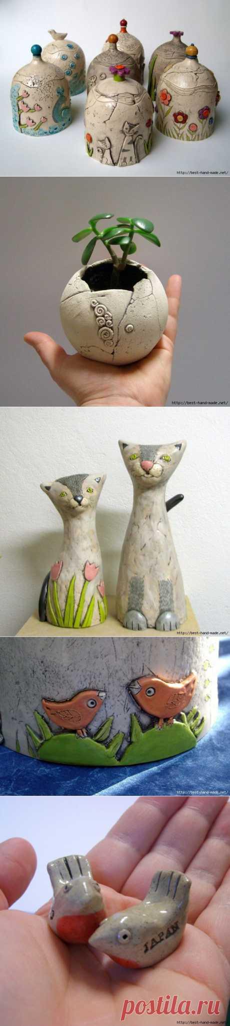 Глиняные кошки и другие красивости от Tika, Словения. Работы и мастер-классы.