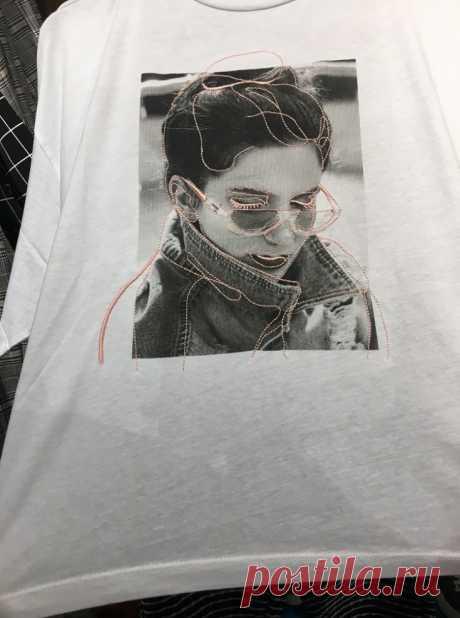 Вышивка по фото на футболке Модная одежда и дизайн интерьера своими руками