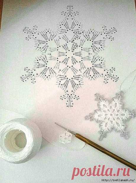 Снежинка крючком со схемой — HandMade