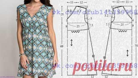 Платье с V-образным вырезом горловины и кулиской на завышенной линии талии. Выкройка на размер 40/42 (рос.). #простыевыкройки #простыевещи #шитье #платье #выкройка