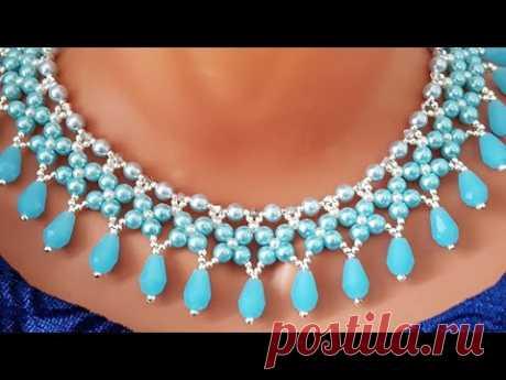 Beaded necklace/Pearl necklace/Жемчужное ожерелье/Жемчужное колье/Колье из бусин@Sonysree Creations