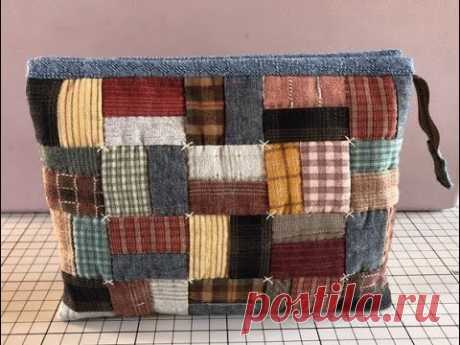 [Use scrap cloth] Easy double pouch with 3 pockets