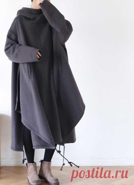 Women Hooded Dress Cotton Oversized Dresses cape dress   Etsy