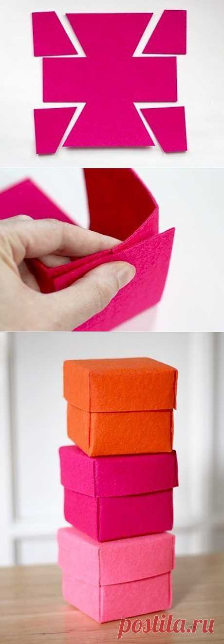 Коробочки из фетра для мелочей и подарков.