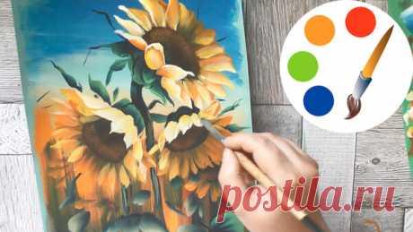 Как нарисовать подсолнухи: ТРИ варианта | О Творчестве с Ириной Лямшиной | Яндекс Дзен