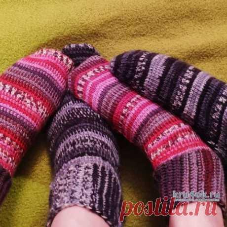 Носки тунисским крючком. Работа Елены Шевчук