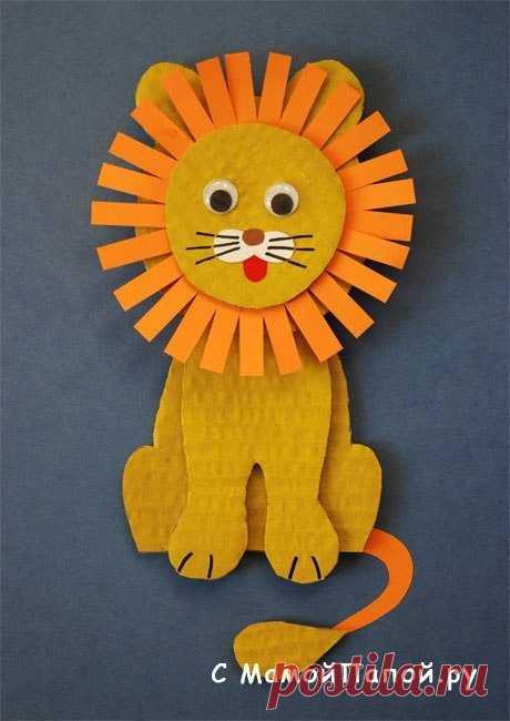 Объемный львёнок из плотной бумаги