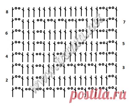 Филейный топ А-силуэта с греческим узором крючком