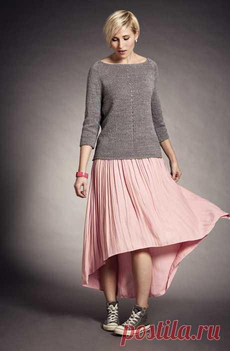 Простой пуловер реглан спицами с вырезом лодочка