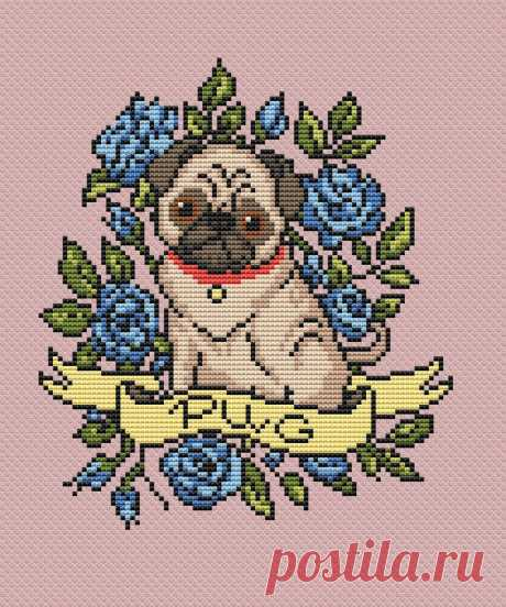 Dog cross stitch pattern tattoo PDF/ Pug funny roses | Etsy