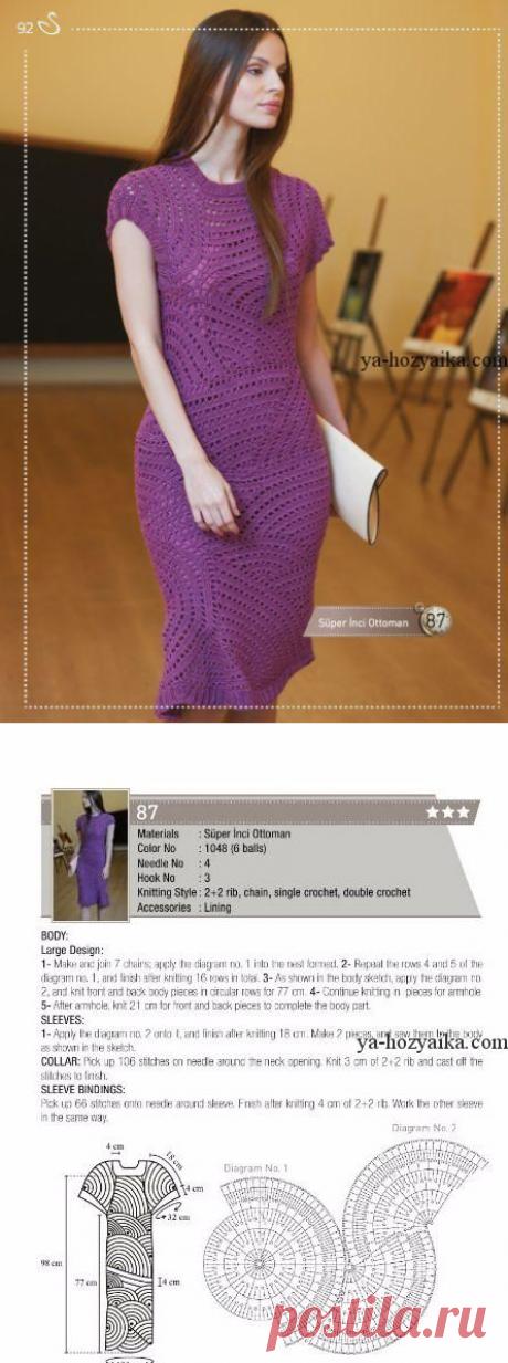 Стильное платье крючком. Женское платье крючком схемами