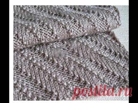 МК. Мужской шарф спицами ,красивым узором.Очень легко и просто.