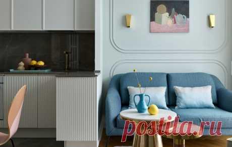 Трешка 74 м² с маленькой кухней и крутыми дизайнерскими приемами — INMYROOM