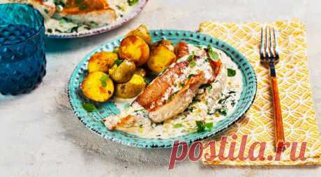 Морской окунь в сливочном соусе с базиликом, такой рыбы вы не пробовали!