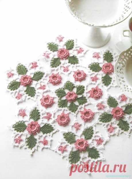 Салфетка «Ирландские розочки»-материал с сайта Красивое вязание