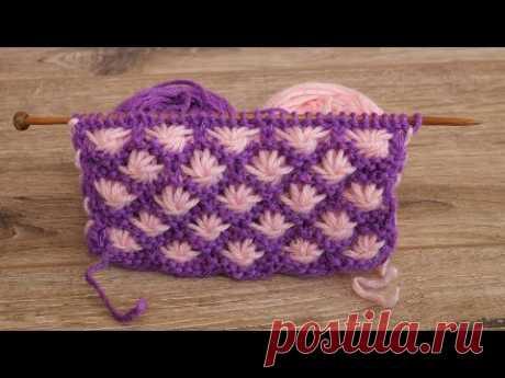Двухцветный узор «Астры» спицами | Aster Flowers knitting pattern🌷